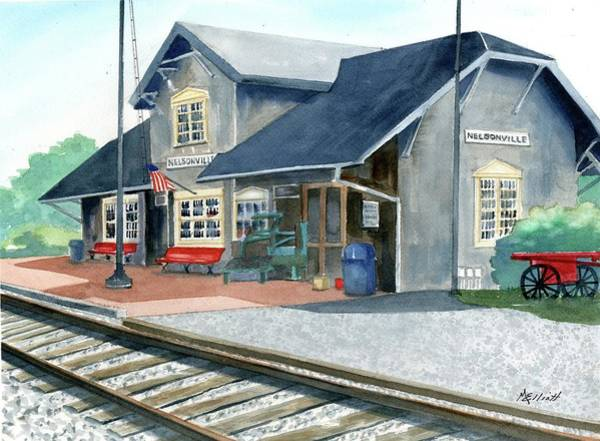 Trains Painting - Nelsonville Train Station by Marsha Elliott
