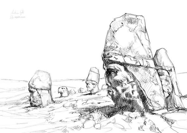 Dust Drawing - Nemrut Drawing by Andrea Gatti