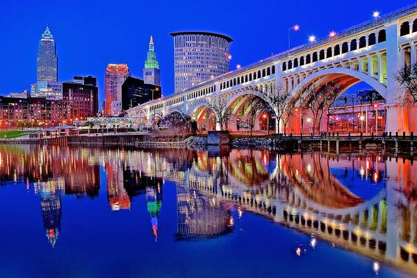 Wall Art - Photograph - Neon Along The Cuyahoga by Frozen in Time Fine Art Photography