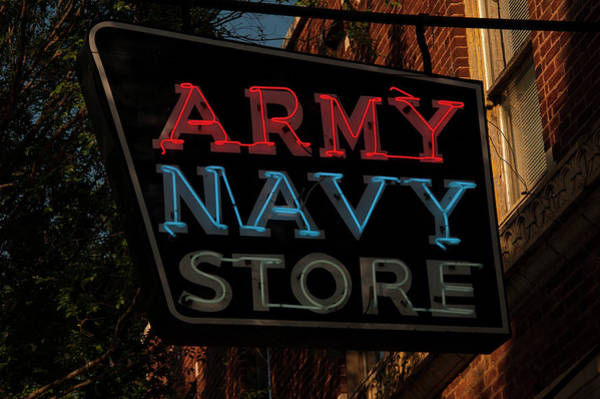 Photograph - Neon Army Navy Store Sign by Chris Flees