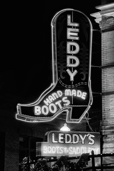 Wall Art - Photograph - Neon Cowboy Boot Black And White by JC Findley