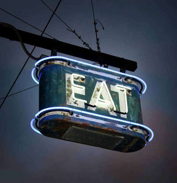 Old People Photograph - Neon Eat Sign by Kjohansen