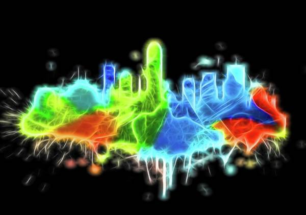 Wall Art - Digital Art - Neon Indianapolis Skyline by Dan Sproul