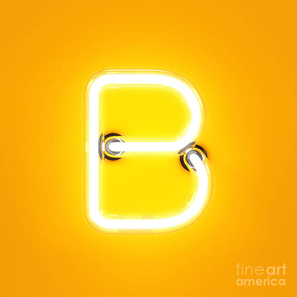 Wall Art - Digital Art - Neon Light Alphabet Character B Font by Dencg
