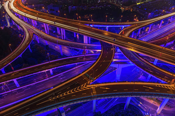 Photograph - Neon Night Super Highway Illuminated by Fotovoyager