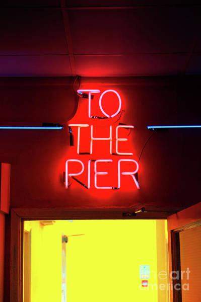 Neon Pink Photograph - Neon Pier Sign by Tom Gowanlock
