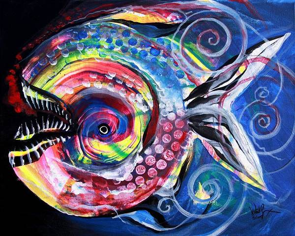 Painting - Neon Piranha by J Vincent Scarpace
