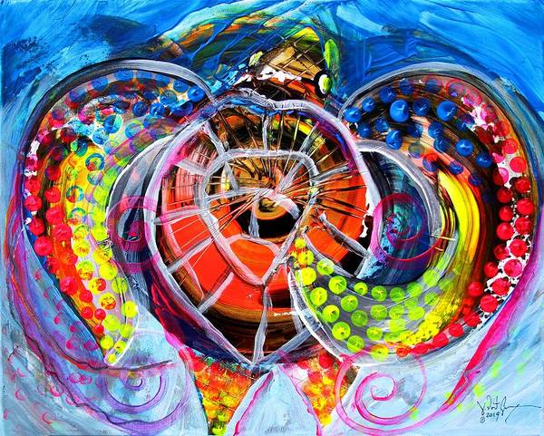 Painting - Neon Sea Turtle, Wake And Drag by J Vincent Scarpace