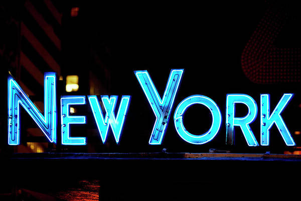 Photograph - Neon Sign Glowing At Night, Times by Glowimages