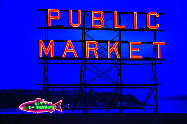 Photograph - Neon Signs And Blue Sky by Bob Stefko