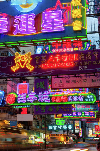 Chinese Language Photograph - Neon Signs On Nathan Road, Kowloon by Tom Bonaventure