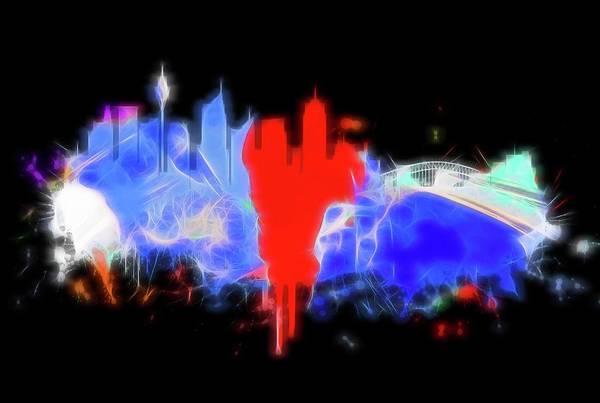 Digital Art - Neon Sydney Skyline by Dan Sproul
