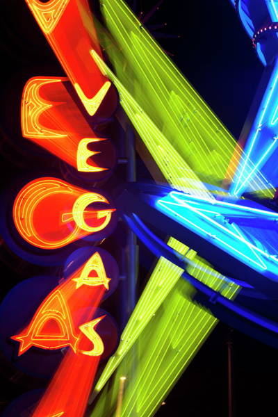 Kitsch Photograph - Neon Vegas Sign At Night, Downtown by Gavin Hellier / Robertharding