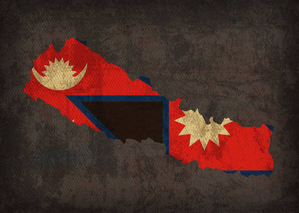 Nepal Wall Art - Mixed Media - Nepal Country Flag Map by Design Turnpike