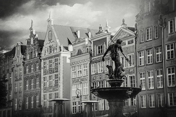 Wall Art - Photograph - Neptune's Fountain Long Market Gdansk Poland Black And White by Carol Japp