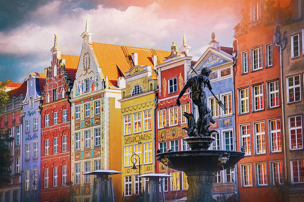 Wall Art - Photograph - Neptune's Fountain Long Market Gdansk Poland  by Carol Japp
