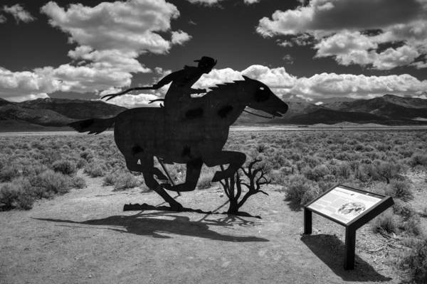 Photograph - Nevada - Pony Express Monument 001 Bw by Lance Vaughn