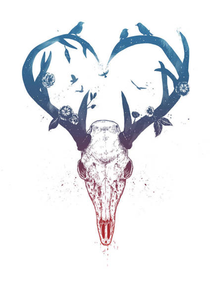 Antlers Drawing - Neverending Love by Balazs Solti