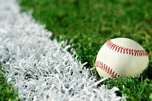 Softball Photograph - New Baseball Along Foul Line by Cmannphoto