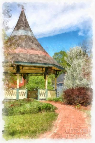 Wall Art - Digital Art - New Boston New Hampshire Gazebo Watercolor by Edward Fielding