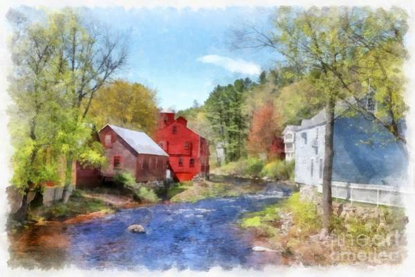 Wall Art - Digital Art - New Boston New Hampshire Watercolor by Edward Fielding