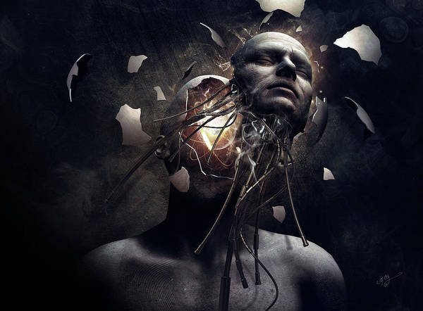 Cyborg Digital Art - New Day by Cameron Gray