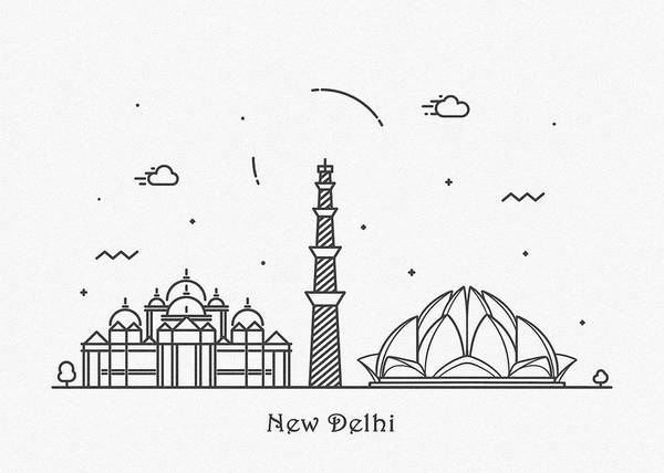 Wall Art - Drawing - New Delhi Cityscape Travel Poster by Inspirowl Design