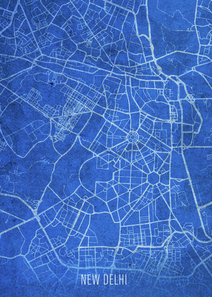 Wall Art - Mixed Media - New Delhi India City Street Map Blueprints by Design Turnpike