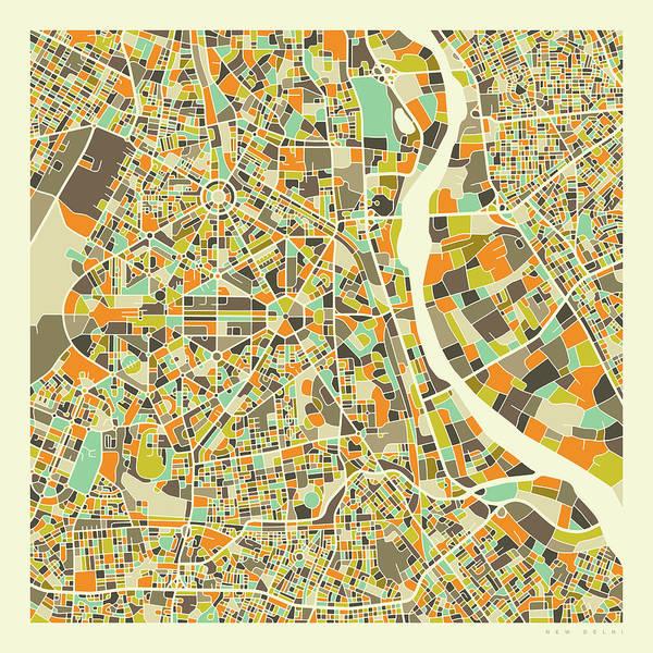 City Map Wall Art - Digital Art - New Delhi Map 1 by Jazzberry Blue
