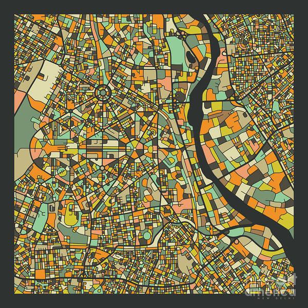 Wall Art - Digital Art - New Delhi Map 2 by Jazzberry Blue