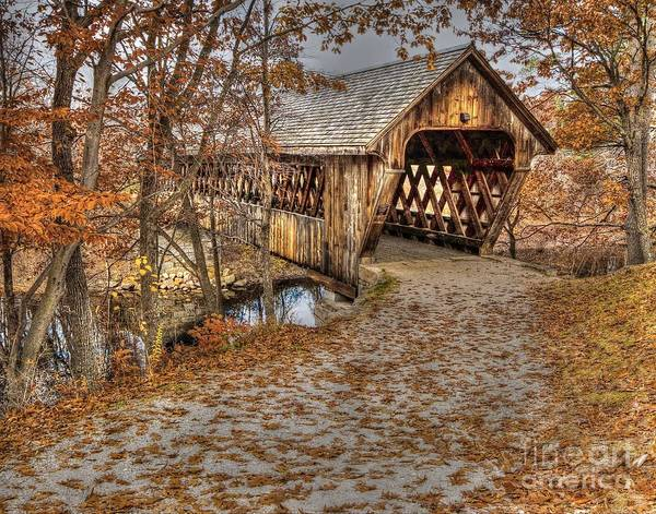 Henniker Photograph - New England College Covered Bridge by Steve Brown