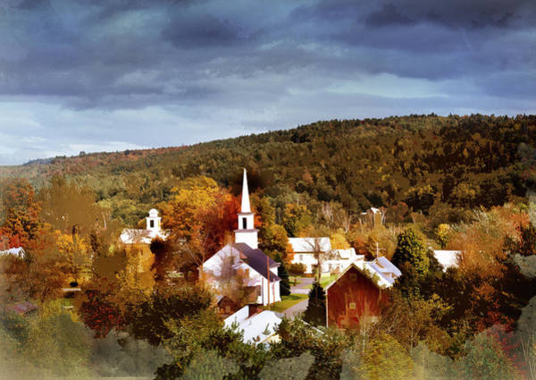 Wall Art - Painting - New England Village On Crisp  Autumn Day  by Elaine Plesser