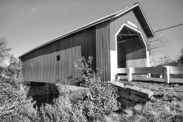 Photograph - New Hampshire Carleton Covered Bridge Black And White by Adam Jewell