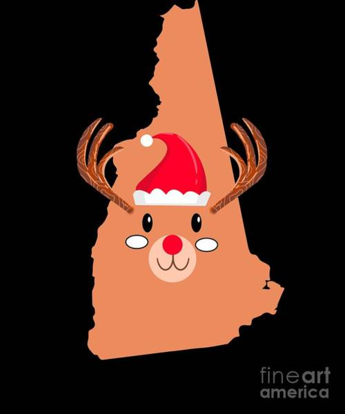 Ugly Digital Art - New Hampshire Christmas Antler Red Nose Reindeer by TeeQueen2603