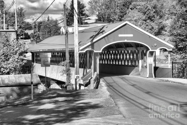 Photograph - New Hampshire Thompson Covered Bridge Black And White by Adam Jewell