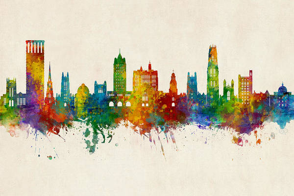 Wall Art - Digital Art - New Haven Yale Connecticut Skyline by Michael Tompsett