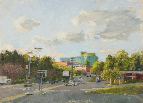 Wall Art - Painting - New Hospital From Cherry Avenue. 7 By 12 Inches by Edward Thomas