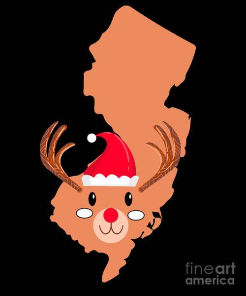Ugly Digital Art - New Jersey Christmas Hat Antler Red Nose Reindeer by TeeQueen2603