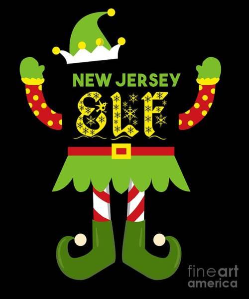 Ugly Digital Art - New Jersey Elf Xmas Elf Santa Helper Christmas by TeeQueen2603