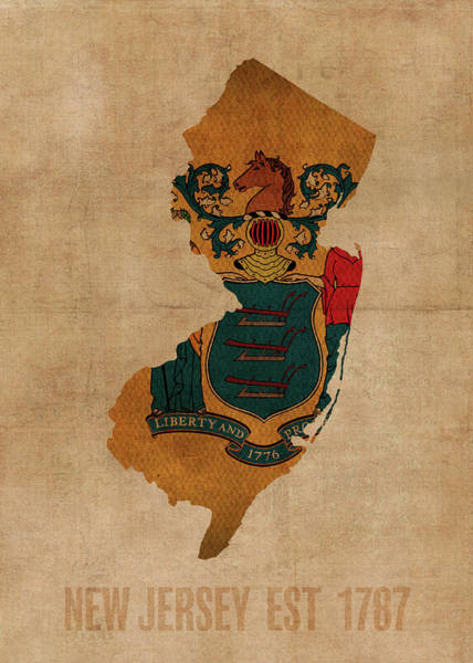 New Jersey Mixed Media - New Jersey State Flag Map Founded Date by Design Turnpike