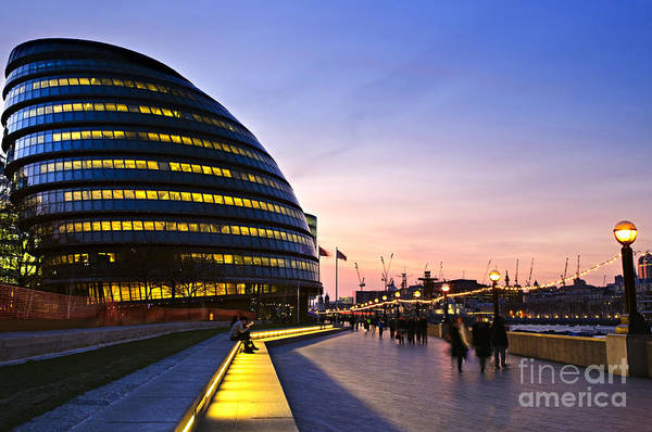 Britain Photograph - New London City Hall At Night With by Elena Elisseeva