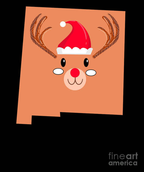 Ugly Digital Art - New Mexico Christmas Hat Antler Red Nose Reindeer by TeeQueen2603