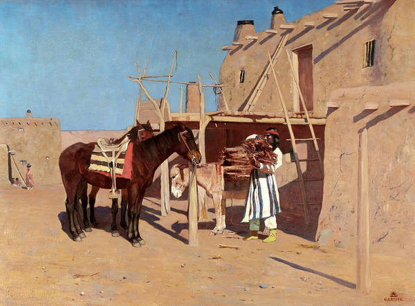 In Canada Painting - New Mexico Pueblo by Gaspard de Latoix