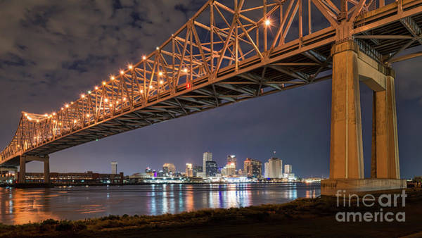 Wall Art - Photograph - New Orleans Bridge Skyline View by Bee Creek Photography - Tod and Cynthia