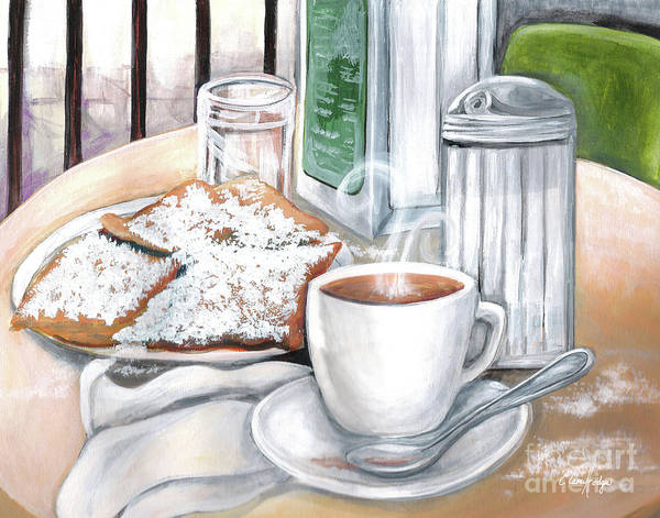 Doughnut Painting - New Orleans Cafe Du Monde by Elaine Hodges