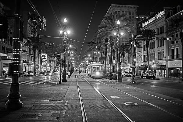 Photograph - New Orleans Canal Street At Night New Orleans La Louisiana Black And White by Toby McGuire