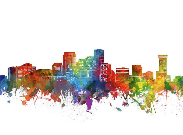 Wall Art - Digital Art - New Orleans City Skyline Watercolor by Bekim M