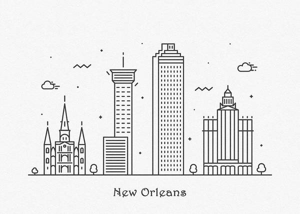Wall Art - Drawing - New Orleans Cityscape Travel Poster by Inspirowl Design