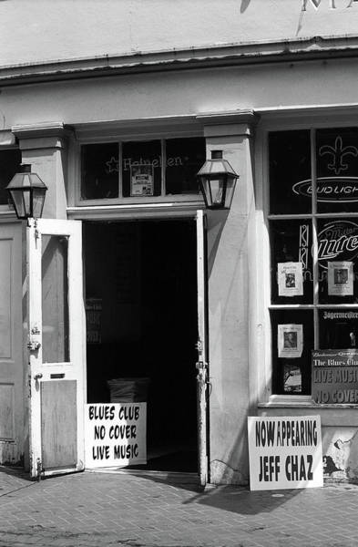 Photograph - New Orleans Jazz Club 2004 Bw by Frank Romeo