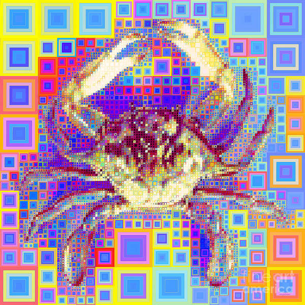 Photograph - New Orleans Louisiana Bayou Blue Crab In Abstract Squares 20190203 by Wingsdomain Art and Photography